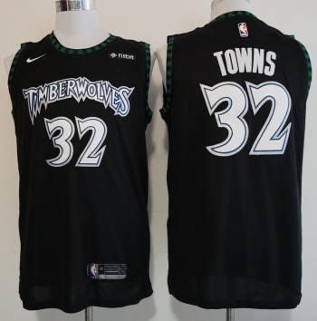 Timberwolves #32 Karl-Anthony Towns Black Basketball Hardwood Classics Throwback Jersey