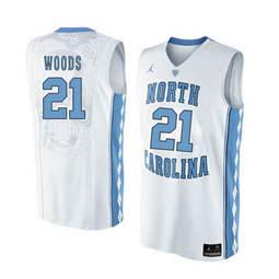 North Carolina Tar Heels #21 Seventh Woods White College Basketball Jersey