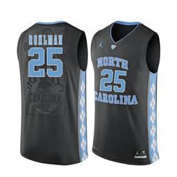 North Carolina Tar Heels #25 Aaron Rohlman Black College Basketball Jersey