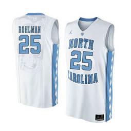 North Carolina Tar Heels #25 Aaron Rohlman White College Basketball Jersey