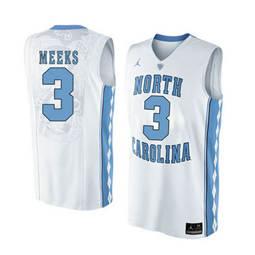 North Carolina Tar Heels #3 Kennedy Meeks White College Basketball Jersey