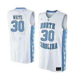 North Carolina Tar Heels #30 Stilman White White College Basketball Jersey