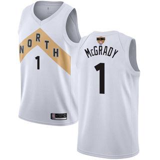 Raptors #1 Tracy Mcgrady White 2019 Finals Bound Basketball Swingman City Edition 2018-19 Jersey