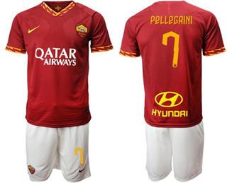 Roma #7 Pellegrini Red Home Soccer Club Jersey