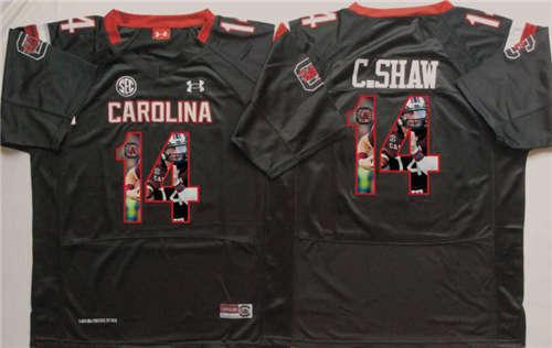 South Carolina Gamecocks #14 C Shaw Black Portrait Number NCAA College Football Jersey