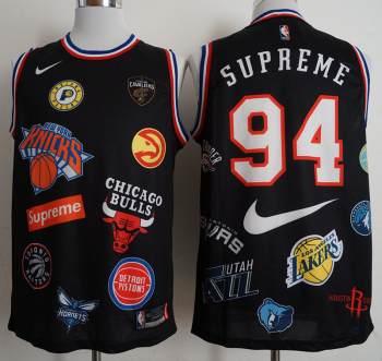 Supreme X  X Basketball Logos #94 Black Stitched Basketball Jersey