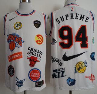 Supreme X  X Basketball Logos #94 White Stitched Basketball Jersey