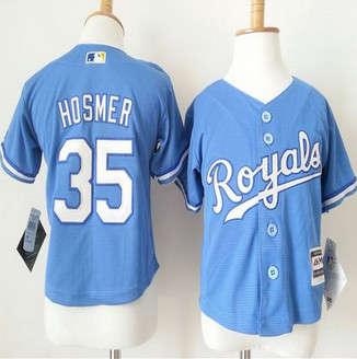 Toddler Kansas City Royals #35 Eric Hosmer Light Blue Alternate 1 Cool Base Stitched Baseball Jersey