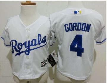 Toddler Kansas City Royals #4 Alex Gordon White Cool Base Stitched Baseball Jersey