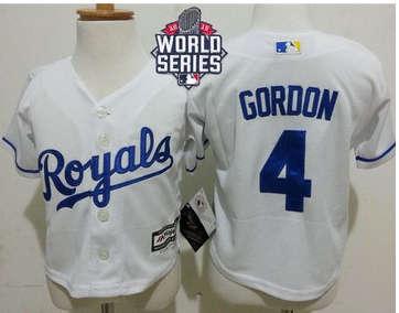Toddler Kansas City Royals #4 Alex Gordon White Cool Base W 2015 World Series Patch Stitched Baseball Jersey