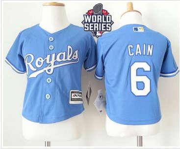 Toddler Kansas City Royals #6 Lorenzo Cain Light Blue Alternate 1 Cool Base W 2015 World Series Patch Stitched Baseball Jersey