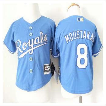 Toddler Kansas City Royals #8 Mike Moustakas Light Blue Alternate 1 Cool Base Stitched Baseball Jersey