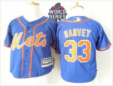 Toddler New York Mets #33 Matt Harvey Blue Alternate Home Cool Base W 2015 World Series Patch Stitched Baseball Jersey