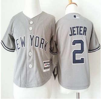 Toddler New York Yankees #2 Derek Jeter Grey Cool Base Stitched Baseball Jersey