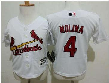 Toddler St. Louis Cardinals #4 Yadier Molina White Cool Base Stitched Baseball Jersey