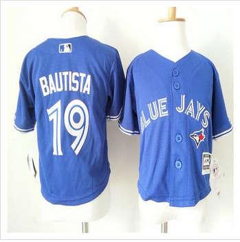 Toddler Toronto Blue Jays #19 Jose Bautista Blue Cool Base Stitched Baseball Jersey