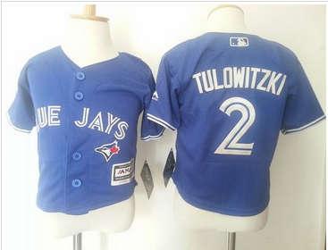 Toddler Toronto Blue Jays #2 Troy Tulowitzki Blue Cool Base Stitched Baseball Jersey