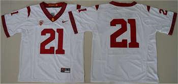 Trojans #21 Adoree' Jackson White PAC-12 C Patch Stitched NCAA Jersey