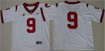 Trojans #9 JuJu Smith-Schuster White PAC-12 C Patch Stitched NCAA Jersey