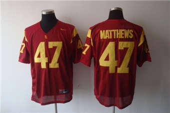 USC Trojans #47 Clay Matthews Red Stitched NCAA Jersey