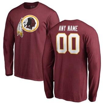 Washington Redskins Pro Line Any Name & Number Logo Personalized Long Sleeve T-Shirt - Burgundy