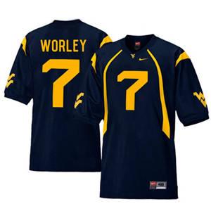 West Virginia Mountaineers 7 Daryl Worley Navy College Football Jersey