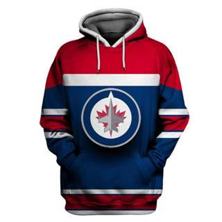 Winnipeg Jets Blue All Stitched Hooded Sweatshirt
