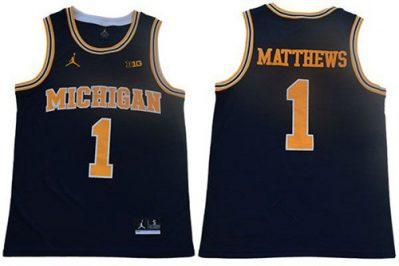 Wolverines #1 Charles Matthews Navy Blue Jordan Brand Stitched College Basketball Jersey