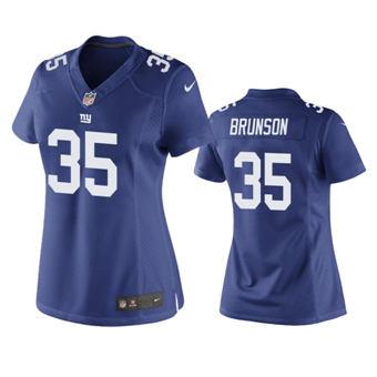 Women's 2020 Draft Giants #35 T.J. Brunson Royal Football Game Jersey