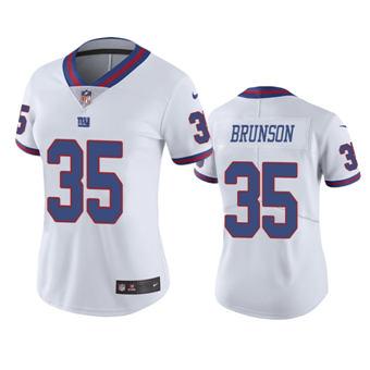 Women's 2020 Draft Giants #35 T.J. Brunson White Color Rush Limited Jersey