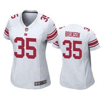 Women's 2020 Draft Giants #35 T.J. Brunson White Football Game Jersey