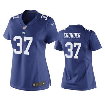 Women's 2020 Draft Giants #37 Tae Crowder Royal Football Game Jersey