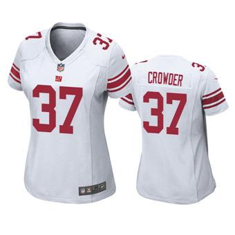 Women's 2020 Draft Giants #37 Tae Crowder White Football Game Jersey