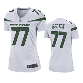 Women's 2020 Draft Jets White Mekhi Becton Game Jersey
