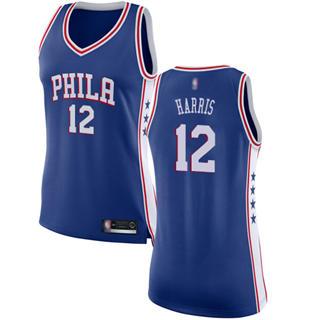 Women's 76ers #12 Tobias Harris Blue Basketball Swingman Icon Edition Jersey