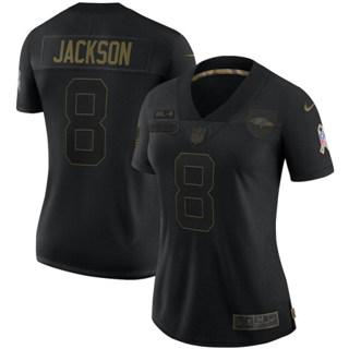 Women's Baltimore Ravens #8 Lamar Jackson 2020 Salute To Service Limited Football Jersey Black
