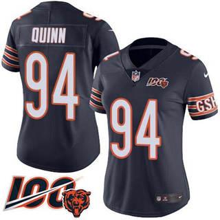 Women's Bears #94 Robert Quinn Navy Blue Team Color Stitched Football 100th Season Vapor Untouchable Limited Jersey