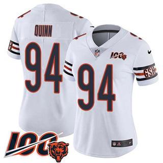 Women's Bears #94 Robert Quinn White Stitched Football 100th Season Vapor Untouchable Limited Jersey