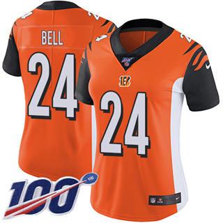Women's Bengals #24 Vonn Bell Orange Alternate Stitched Football 100th Season Vapor Untouchable Limited Jersey