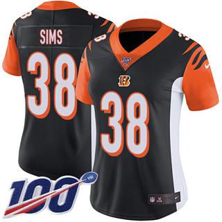 Women's Bengals #38 LeShaun Sims Black Team Color Stitched Football 100th Season Vapor Untouchable Limited Jersey