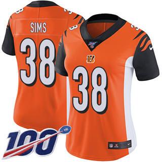 Women's Bengals #38 LeShaun Sims Orange Alternate Stitched Football 100th Season Vapor Untouchable Limited Jersey