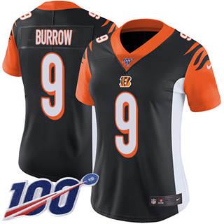 Women's Bengals #9 Joe Burrow Black Team Color Stitched Football 100th Season Vapor Untouchable Limited Jersey