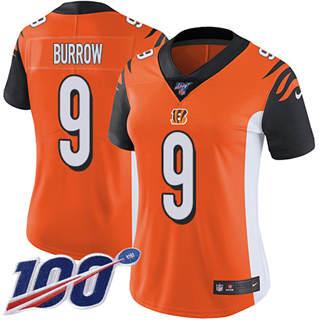 Women's Bengals #9 Joe Burrow Orange Alternate Stitched Football 100th Season Vapor Untouchable Limited Jersey