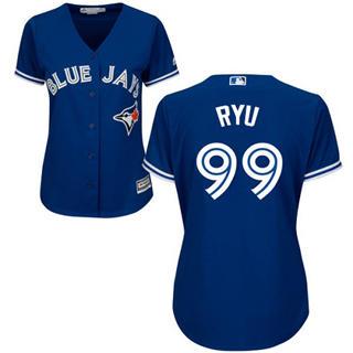 Women's Blue Jays #99 Hyun-Jin Ryu Blue Alternate Stitched Baseball Jersey