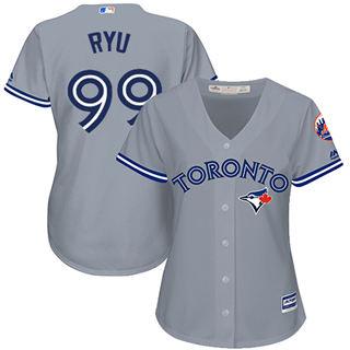 Women's Blue Jays #99 Hyun-Jin Ryu Grey Road Stitched Baseball Jersey