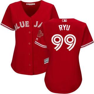Women's Blue Jays #99 Hyun-Jin Ryu Red Canada Day Stitched Baseball Jersey