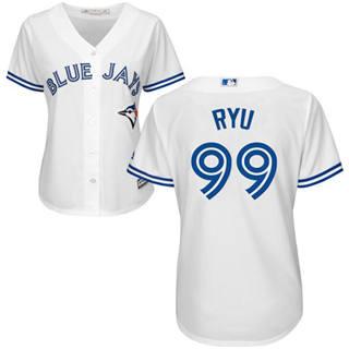 Women's Blue Jays #99 Hyun-Jin Ryu White Home Stitched Baseball Jersey
