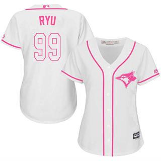 Women's Blue Jays #99 Hyun-Jin Ryu White Pink Fashion Stitched Baseball Jersey