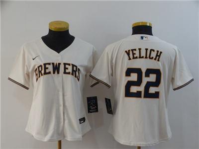 Women's Brewers #22 Christian Yelich Cream 2020 Stitched Baseball Cool Base Jersey
