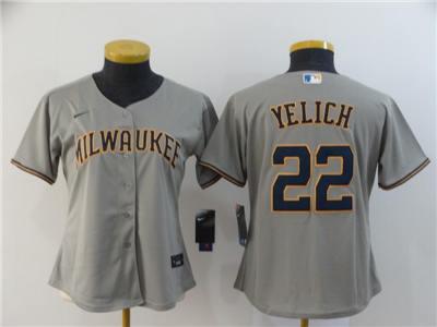 Women's Brewers #22 Christian Yelich Gray 2020 Stitched Baseball Cool Base Jersey